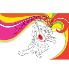 Drummer in Durga Puja vector