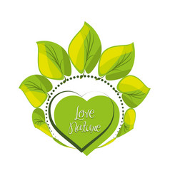 Emblem of heart shape with leaves around vector
