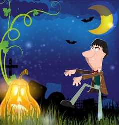 Evil zombie and jack o lantern vector