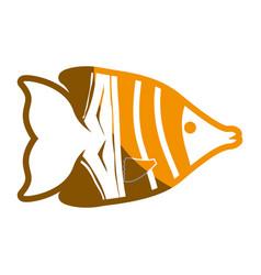 fish sea yellow symbol vector image