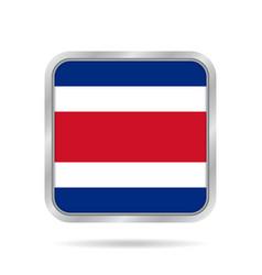 flag of costa rica metallic gray square button vector image