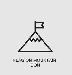 Flag on mountain icon vector
