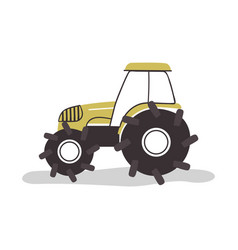 flat farm tractor vehicle on isolated background vector image
