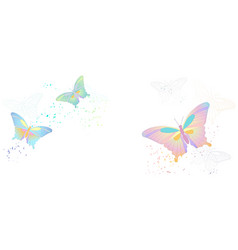 flying butterflies isolated on white vector image
