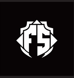 fs logo monogram with shield line and 3 arrows vector image