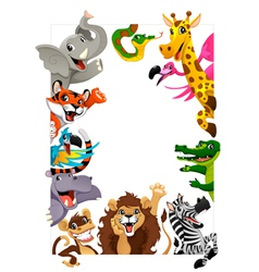 funny group jungle animals vector image