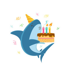 Funny shark in festive hat blowing candles vector