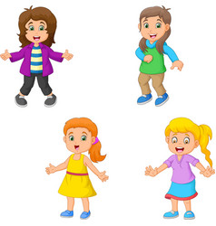 girl cartoon collection set vector image