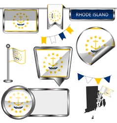 Glossy icons with Rhode Islander flag vector