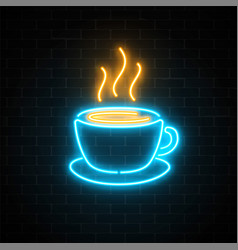 Glowing neon coffee cup icon on a dark brick wall vector