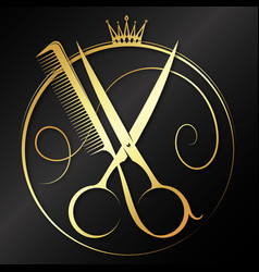 Golden scissors and comb graceful symbol vector