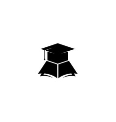 Graduation cap and book icon graphic design vector