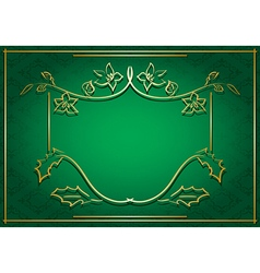 green card with floral gold frame vector image