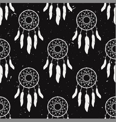 Grunge monochrome seamless pattern with dream vector