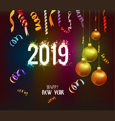 happy new year 2019 background with christmas vector image