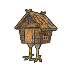 Hut on chicken legs sketch vector