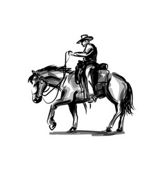 ink sketch a cowboy on a horse vector image