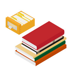 isometric pile books and library book catalog vector image