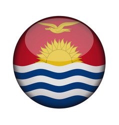 kiribati flag in glossy round button of icon vector image