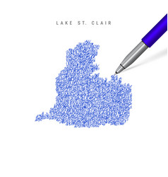 Lake st clair sketch scribble map isolated on vector