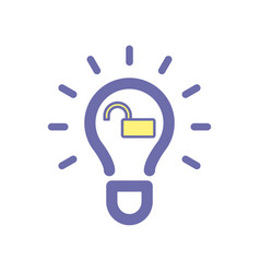 Light bulb idea unlock icon vector