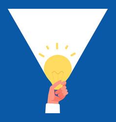 light idea hand holding lightbulb finding vector image