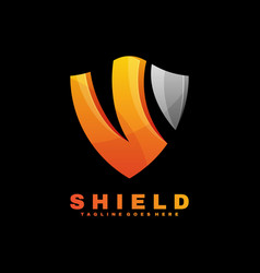 Logo shield gradient colorful style vector