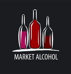 logo wine bottles on a black background vector image