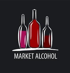 Logo wine bottles on a black background vector