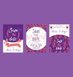 love lettring sav e the date lovely vector image
