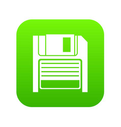 magnetic diskette icon digital green vector image