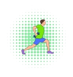 Man doing lunges with dumbbells icon vector image
