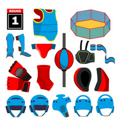 Mma icons set mma accessories round vector
