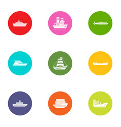 Nave icons set flat style vector