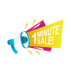 One minute sale countdown badge with megaphone vector