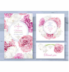 Peony invitations set vector