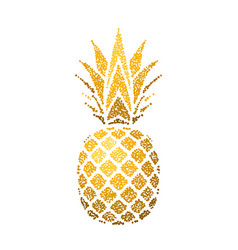 pineapple golden with leaf tropical gold exotic vector image