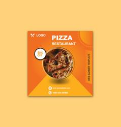 Pizza restaurant banner template design vector