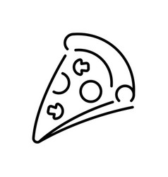 pizza slice with ingredients thin line icon vector image