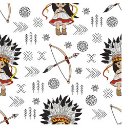 pocahontas arrow american native culture seamless vector image