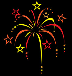 red orange yellow colourful stylized fireworks vector image