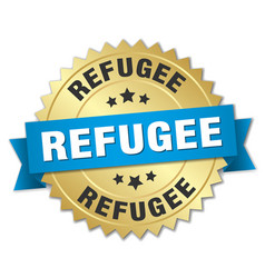refugee round isolated gold badge vector image