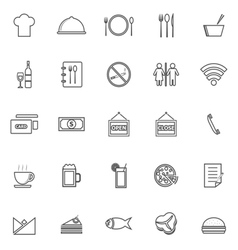 Restaurant line icons on white background vector