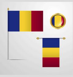 Romania waving flag design with badge vector