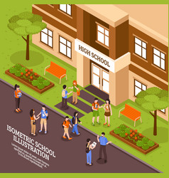 school building entrance isometric poster vector image