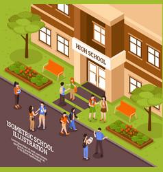 School building entrance isometric poster vector
