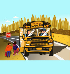 school bus driver and kids vector image