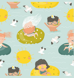 seamless pattern kids having fun and swimming vector image