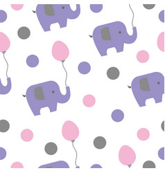 seamless pattern with elephants and balloons vector image