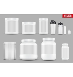 Set Mockup Sport Vitamin Containers vector